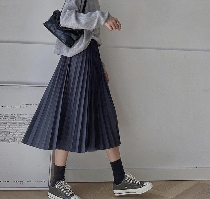 裙子【高腰氣質A字休閒百褶長裙】☆sandy☆魔法櫥窗V7887