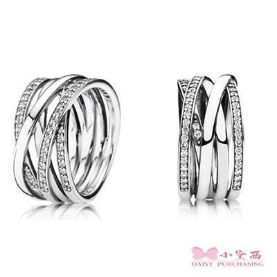 小黛西代購 潘多拉 Pandora 寬版鑲鑽多環戒指 Charms 美國正品 可分3期