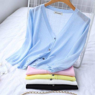 明星衣櫃=新款空調衫女開衫夏季防曬冰絲針織開衫女外搭薄外套短款披肩=小外套 針織外套 薄外套 小西裝外套