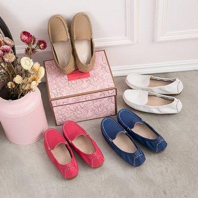 豆豆鞋 超軟小牛皮簡約束帶休閒鞋 丹妮鞋屋