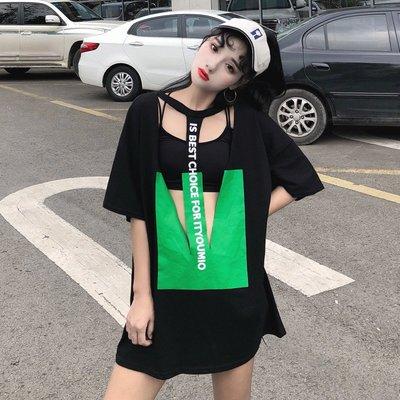 2018新款韓國鏤空性感字母印花ulzzang寬松百搭學生 短袖T恤女潮