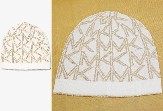大降價!全新 Michael Kors MK 高質感金蔥金色白色 LOGO 設計針織帽!低價起標無底價!本商品免運費!