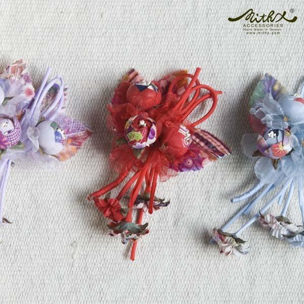【MITHX】櫻福,三苞錦,小側夾胸針,造型髮飾-三色