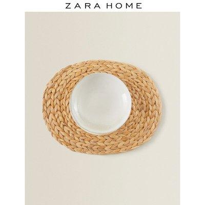 餐墊Zara Home 天然纖維橢圓形餐墊北歐簡約風桌墊裝飾墊 42923023052