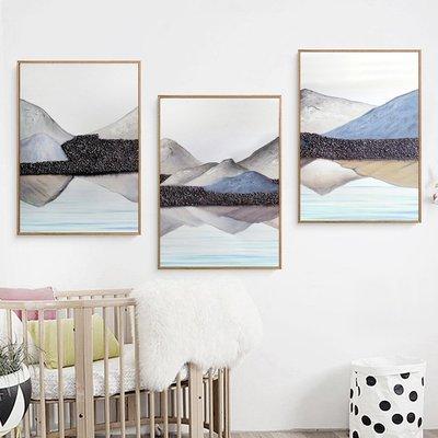新中式禪意山水群山裝飾畫抽象意境裝飾畫芯畫布高清微噴打印畫心(不含框)