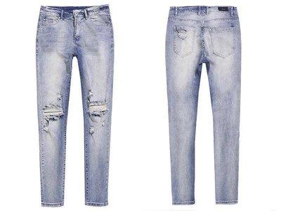 【Result】淺藍水洗破壞 破洞牛仔褲 必備百搭款