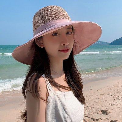 @新風夏季遮陽用品 大檐帽女士草帽時尚出游遮陽帽子折疊旅游防曬沙灘夏季薄款太陽帽
