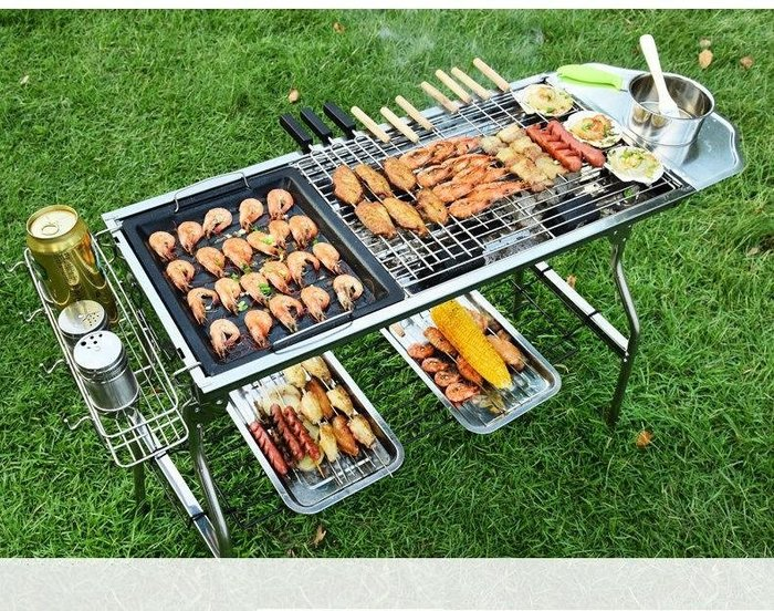 大全配款【中秋烤肉必備】5-15人款加大型不鏽鋼烤肉架 不鏽鋼烤網 不銹鋼折疊烤肉爐 燒烤爐 BBQ