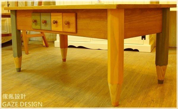 GAZE DESIGN匠司.傢俬設計-手工實木家具/設計款繽紛童趣蠟筆雙面茶几/實木家具訂做