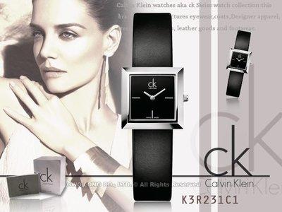 CASIO手錶專賣店 國隆 CK手錶 Calvin Klein K3R231C1 K3R231L6 黑白方型優雅_保固一年_開發票