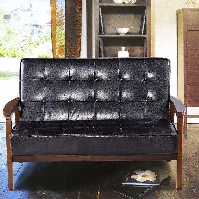 沙發 組裝好【179購物中心】日式懷舊百年經典復古沙發-雙人沙發116cm-兩人座皮沙發破盤價$4500-黑色-售完