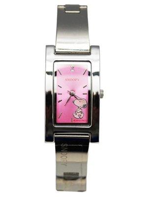 【卡漫迷】 史奴比 長方鏡 手鍊 手錶 粉紅 ㊣版 手環 史努比 女錶 Snoopy 不鏽鋼 銀色 水鑽 細版 裝飾 原價打8折