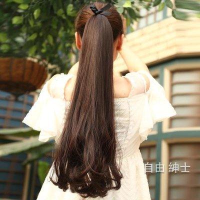 女士捆綁式梨花馬尾 蓬鬆逼真長卷髮 大波浪馬尾辮假髮馬尾