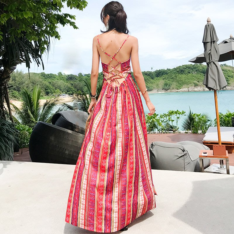 ♥ 韓 實拍 ♥ 連衣裙E8640 洋裝 連身裙 雪紡裙 沙灘裙