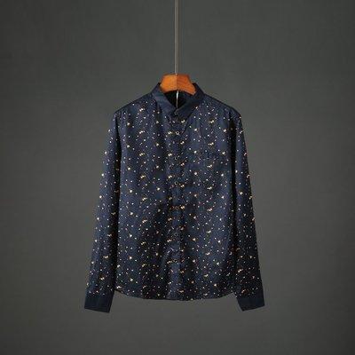 襯衫 修身 百搭 長袖 五分袖秋季新款男士涂鴉印花修身長袖襯衫時尚休閑青年男裝襯衣1488