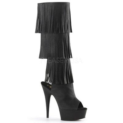 Shoes InStyle《六吋》美國品牌 PLEASER 原廠正品流蘇厚底高跟魚口及膝中長筒馬靴 有大尺碼『黑色』