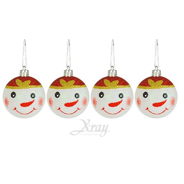 節慶王【X280920】4入80mm微笑雪人彩蔥球,聖誕節/聖誕佈置/聖誕鍍金球/聖誕球