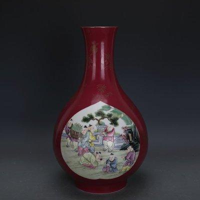 ㊣姥姥的寶藏㊣ 大清乾隆胭脂紅粉彩嬰戲圖描金膽瓶全手工官窯  古瓷古玩古董收藏