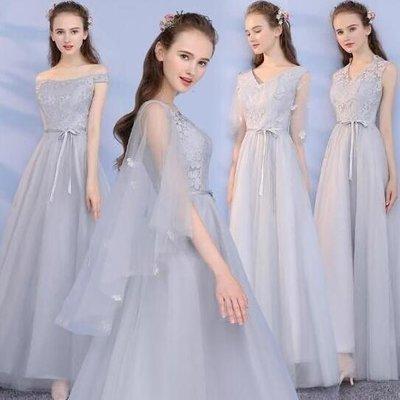 伴娘服 長洋裝灰色姐妹團顯瘦宴會晚禮服 結婚敬酒服