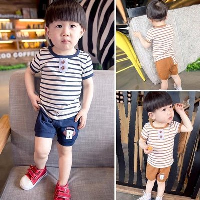 ♥ 【BS0058】 韓版男童裝條紋套裝 2色 (咖啡色 現貨) ♥