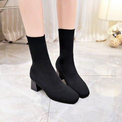 襪靴 針織靴 彈力靴 粗跟好穿不掉筒短靴 女粗跟尖頭裸靴高中跟筒靴 彈力布套腳短靴馬丁靴 564