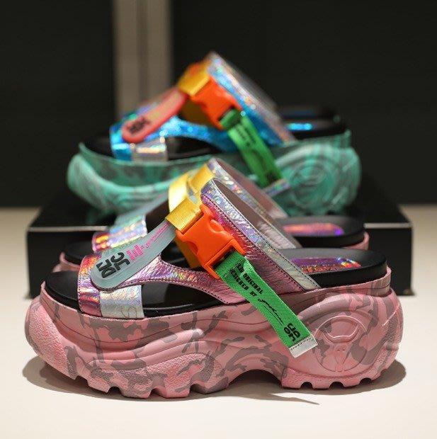 Fashion*松糕厚底涼拖鞋 拼色網紅涼鞋 街拍同款百搭一字拖 老爹女鞋/2色 綠色*粉紅色  34-40碼