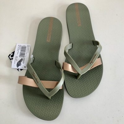 **IPANEMA**巴西夾腳拖鞋(KIREI系列 純色簡約夾腳平底拖鞋) 軍綠/金帶