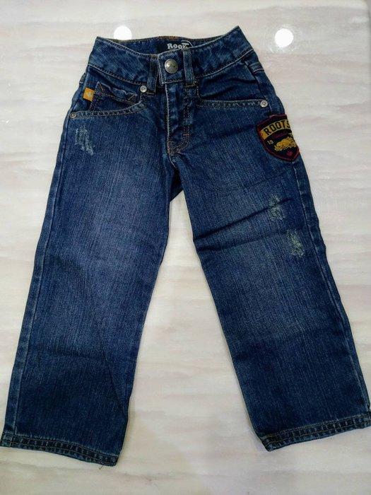 全新 ROOTS 兒童 牛仔褲 刷白小破壞