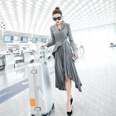 ☆TANG KOREA*╮正韓 歐洲站名媛假兩件高腰不規則裙長袖中長款女裝