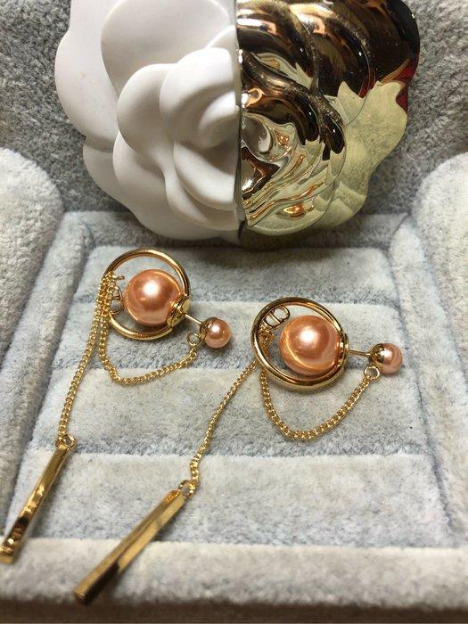 DIOR 經典 二手 玫瑰粉 珍珠 星球 流蘇 金色 耳環
