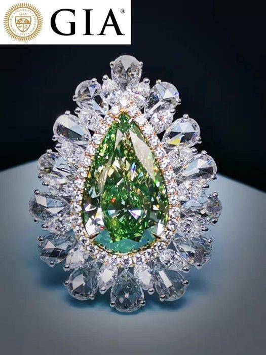 【台北周先生】天然Fancy綠色鑽石 7克拉 罕見大顆 Even分布 18K金 真金真鑽 美戒 送GIA證書