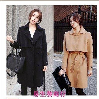 【易生發商行】爆款 韓國秋冬韓版氣質修身顯瘦收腰系帶中長款毛呢大衣F6196