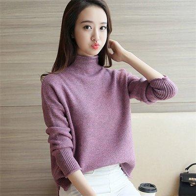~Linda~韓版女士針織衫 寬鬆顯瘦半高領毛衣 短款上衣打底衫