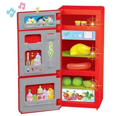 ^.^飛行屋(全新品)益智廚房玩具~REFRIGERATOR~電冰箱玩具組//內附食物&飲料//材質:ABS(送電池)