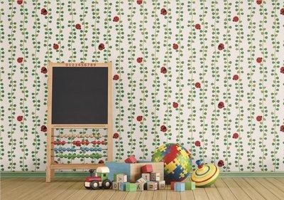 【夏法羅 窗藝】瓢蟲與藤蔓 大幅寬壁紙 韓國壁紙 LS-4173