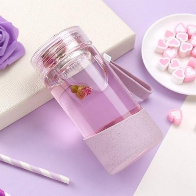 隨手杯韓國玻璃杯女學生水杯子簡約清新便攜可愛創意潮流隨手泡茶花茶杯  西城集市