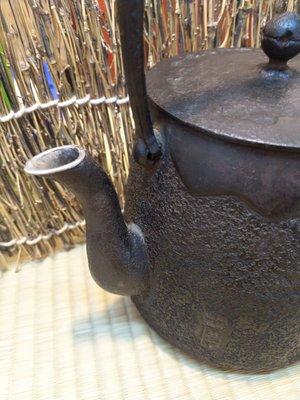 壺嘴銀鑲銀 銀象崁 老鐵壺 日本古美術 茶道具 鑲銀嘴 鐵壺