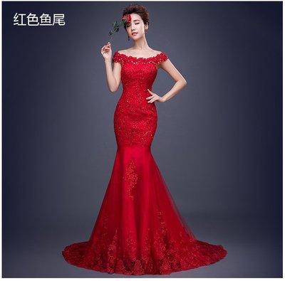 【曼妮婚紗禮服】3件免郵~婚紗禮服 韓版一字肩修身顯瘦魚尾型拖尾款新娘婚紗禮服~A145