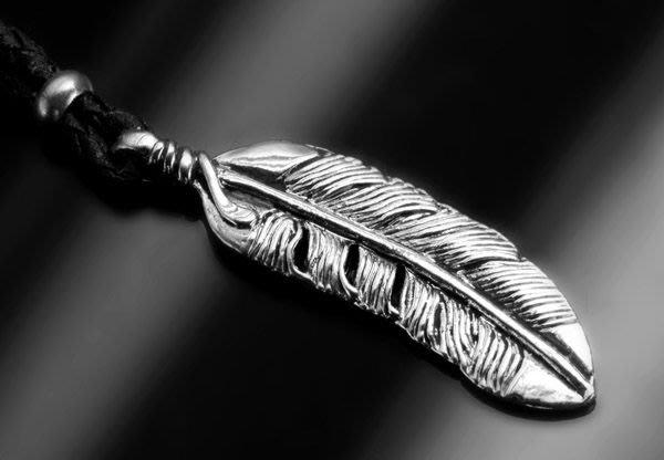 【創銀坊】銀翼之羽 925純銀 墜子 皮繩 印第安 老鷹 羽毛 翅膀 哈雷 goro's 琉璃珠 項鍊 (P-6203)