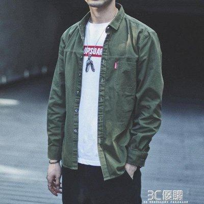 ZIHOPE 秋季襯衫外套男長袖純色百搭工裝休閒寬鬆上衣日系男士襯衣潮學生ZI812