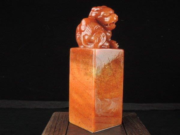 《御石尚》天然開運玉石印章系列專賣-天然水洞朱砂凍石壽山石方形印章{如意貔貅}→86K12N13收藏增值事業順代刻另計