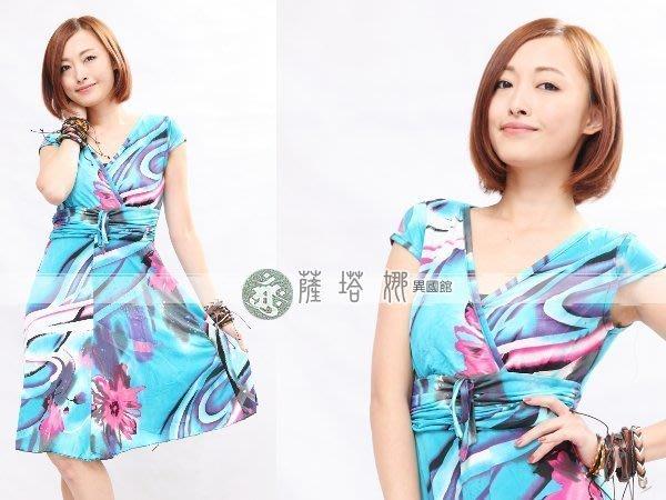 &~薩瓦拉 : 新款_藍桃_水紋花前交疊小包袖_彈性短洋裝