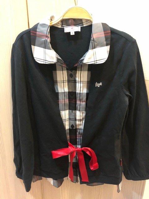小花別針、專櫃品牌【scottish house】黑色綁帶假兩件上衣