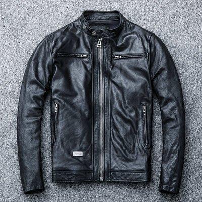 【時尚潮流購物】重磅油蠟植糅綿羊皮機車立領皮衣 C629