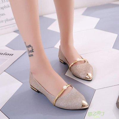低跟鞋 正韓淺口單鞋女鞋子時尚百搭尖頭平底低跟套腳休閒  快速出貨