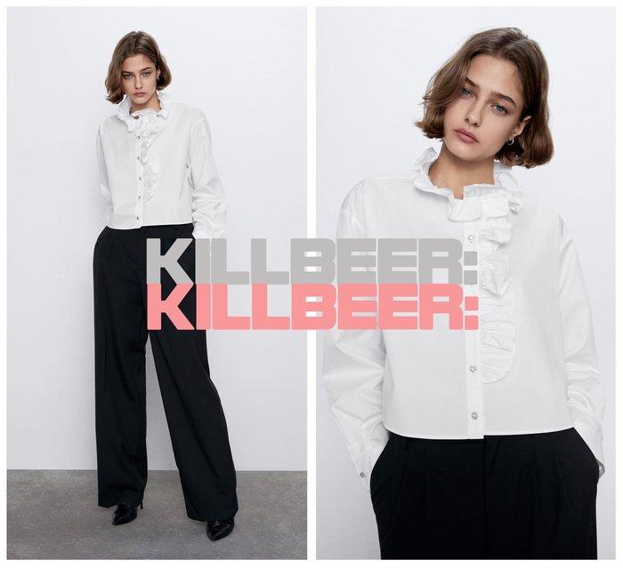 KillBeer:身為名媛的自傲之 歐美復古華麗巴洛克宮廷風寶石水鑽bling排扣荷葉領裸白短版襯衫上衣010809