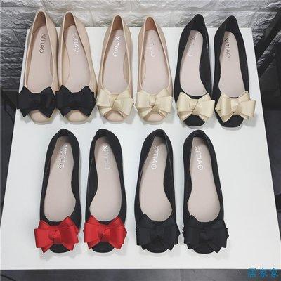 居家家  春秋新款甜美小香風蝴蝶結平底鞋女鞋淺口方頭單鞋果凍鞋