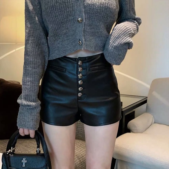 PapaDarling 20SS 時尚個性十字釦釘顯瘦 皮褲 短褲