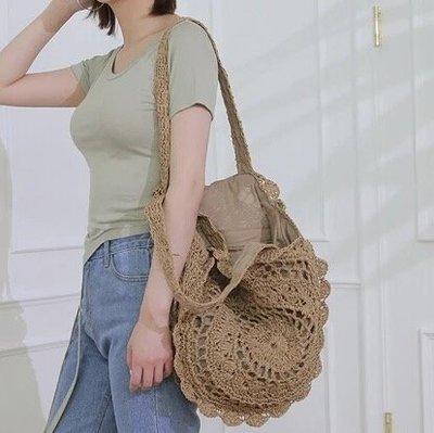 草編包 編織包 側背包 沙灘包 大圓包 媽媽包 圓形花朵 單肩包 度假包 可折疊