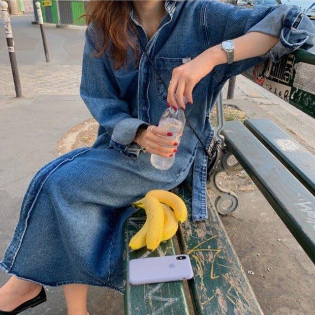 *Angel  Dance*長袖洋裝(藍色)@韓國 牛仔 翻領 單排扣 繫帶 襯衫 中長款 薄外套 寬鬆@現貨+預購